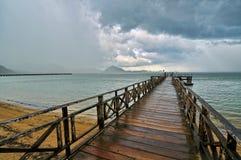 Raining when leaving Komodo island Stock Photo