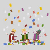 Raining letters over the three magic kings. 3D Stock Photo