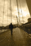 Raining on london city bridge Stock Photo