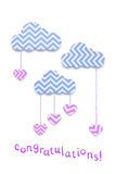 Raining love. Creative valentines concept photo of clouds with hearts made of paper on white background Stock Images