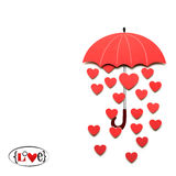 Raining love. Creative valentines concept photo of paper umbrella with hearts raining down on white background Stock Image
