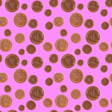 Raining Lucky Coins. The German one Pfennig coin, symbol of good luck, as seamless pattern on a pink background Royalty Free Stock Photography