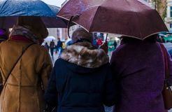 Raining in Madrid on a Sunday winter's day royalty free stock photos