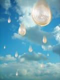 Raining money. Cloudy  sky is going to rain euro coins Stock Photo