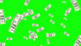 Raining money on green screen background