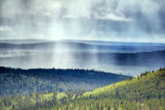 Raining in  mountain tundra in  Arctic Stock Images