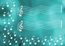 Raining music winter song greeting card. Heart key notes floating and water bokeh background. Invitation or greeting musical card. Space to write message on the Stock Image