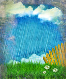 Raining nature landscape.Vintage Royalty Free Stock Image