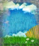 Raining nature landscape.Vintage Royalty Free Stock Image