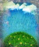 Raining nature landscape.Vintage Stock Image