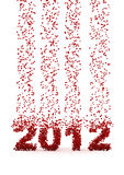Raining numbers 2012. 3D render of falling numbers forming 2012 Royalty Free Stock Photo