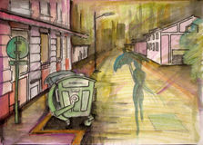 Raining In Paradise. Watercolor drawing of rainy street with woman's silhouette Stock Photo