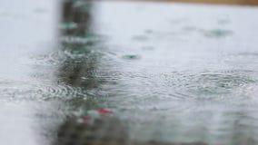 Raining on a park table stock video footage