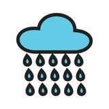 Raining. Rain, clouds, raining icon vector image. Can also be used for spring. Suitable for use on web apps, mobile apps and print media Royalty Free Stock Photos