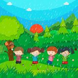 Raining scene with kids in the park. Illustration Stock Images