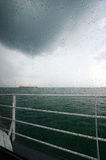 raining sea view Royaltyfria Bilder