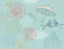 Raining Season, Line Art Poster Royalty Free Stock Photography