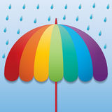 Raining sky background. Rainbow color umbrella in raining sky background Stock Illustration