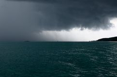 Raining storm over the sea Royalty Free Stock Images
