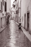 Raining in Street in Florence, Italy Royalty Free Stock Photos