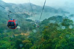 Raining at The Sun Moon Lake Ropeway , the scenic gondola cable Royalty Free Stock Photo
