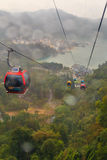 Raining at The Sun Moon Lake Ropeway , the scenic gondola cable Stock Photo