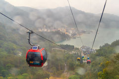 Raining at The Sun Moon Lake Ropeway , the scenic gondola cable Royalty Free Stock Photography