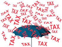 Raining tax 3D. Concepts debit falling finance protection Royalty Free Stock Photos