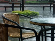 Raining terrace Royalty Free Stock Images