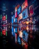 Raining time at Times Square. Raining time times square new york usa taxi night raing colorful light stock photo