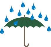 Raining and umbrella. The rain is falling on an umbrella Stock Image
