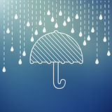 Raining on a umbrella Royalty Free Stock Photo
