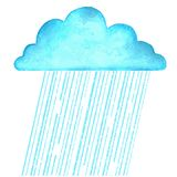 Raining.Vector image with blue rain cloud in wet day on white Royalty Free Stock Images