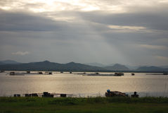 After raining. View after raining before sunset at Kraseo Dam, Suphanburi Stock Photography