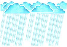 Raining.Watercolor image with blue rain clouds in wet day on whi Stock Images