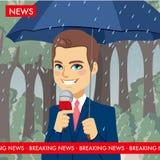 Raining Weather News Reporter Stock Photography