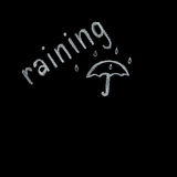 Raining written on blackboard Stock Image
