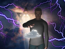 Rainmaker. Man Hovers Cloud with Star of David and Cross in Storm with God Rays stock illustration