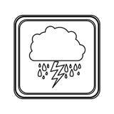 rainning de nuage d'emblème de silhouette et icône de rayon Images libres de droits