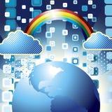 Rainny Day. Vector illustration of globe with rainbow,clouds and rain Stock Photos