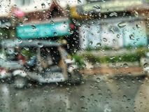 Rainny day  view from a car window royalty free stock photos