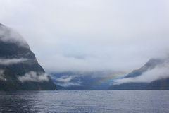 Rainny and foggy day at Milfordsound Royalty Free Stock Photography