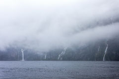 Rainny and foggy day at Milfordsound Royalty Free Stock Photos