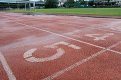 Rainny sports field cloes up shot Royalty Free Stock Photo