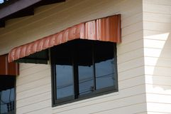 Rainproof awning of slide window. Close up rainproof awning of slide window Royalty Free Stock Photography