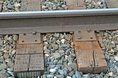 Rainroad tracks close up. Close up of railroad tracks and ties Stock Photo