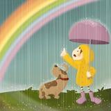 Rains And Rainbow Stock Photo