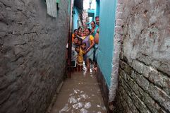 Rains Cause Water Logging In Kolkata Royalty Free Stock Photography