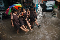 Rains cause water logging in Kolkata Royalty Free Stock Images