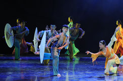 In the rainSisters-The dance drama The legend of the Condor Heroes Royalty Free Stock Images